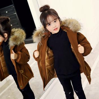 Χειμερινό παιδικό μπουφάν με κουκούλα και γούνα σε τρία χρώματα για κορίτσια d48a53931f5
