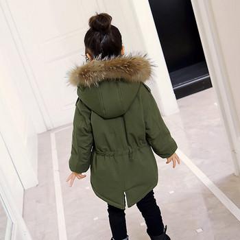 ae89238f956 Χειμερινό παιδικό μπουφάν με κουκούλα και γούνα σε τρία χρώματα για κορίτσια
