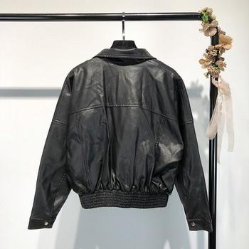 Ретро дамско яке от еко кожа в черен цвят
