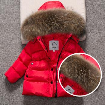 Модерно детско зимно яке с качулка и пух в три цвята за момичета