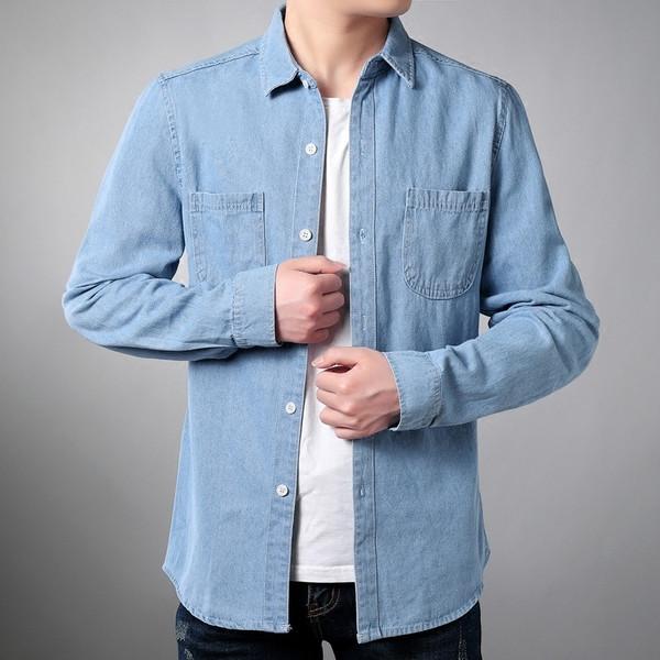 Ανδρικό τζιν πουκάμισο με μπροστινές τσέπες - Badu.gr Ο κόσμος στα χέρια σου 4febaeaa36f