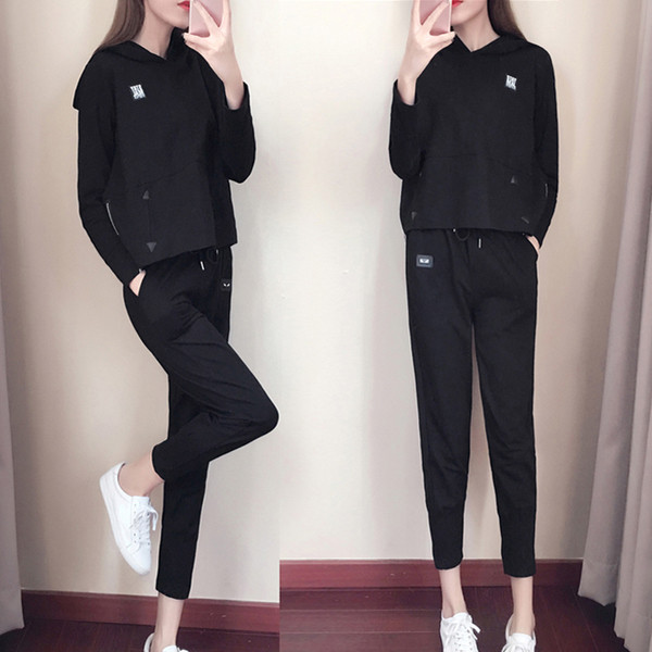 10baff1bb04 НОВ модел спортен дамски комплет включващ блуза и панталон - черен и бял  цвят - Badu.bg - Светът в ръцете ти