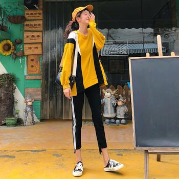 Дамски спортно-ежедневен комплект от две части - дълъг суичър и клин със странични кантове