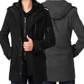 Модерно мъжко палто с качулка в сив и черен цвят