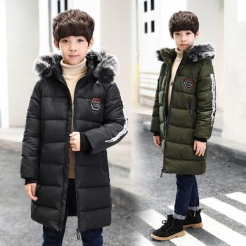 Χειμερινό παιδικό μπουφάν για αγόρια με εκτύπωση και κουκούλα με γούνα σε  δύο χρώματα b68d4f1d396