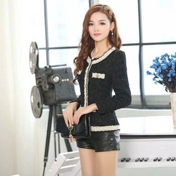 Модерно дамско сако с дантела в черен и бял цвят