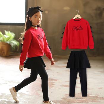 Модерен детски комплект за момиче от две части - блуза с панделки и пола с клин