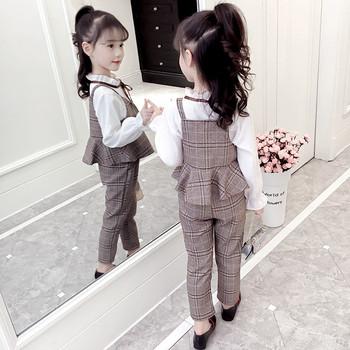 Стилен детски кариран комплект за момичета