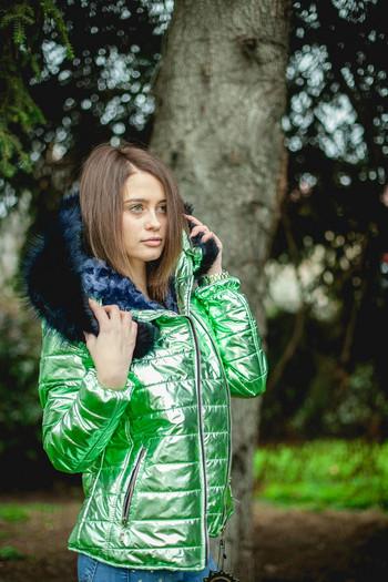 Дамско ватирано яке хит модел 2018 Цвят Зелен