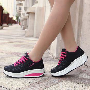 Модерни дамски маратонки с висока подметка в три цвята подходящи за ежедневие