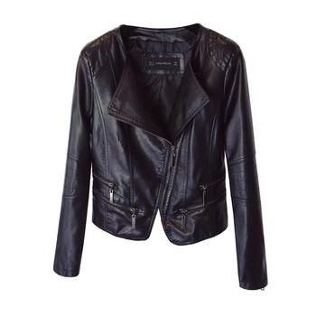 ΝΕΟ δερμάτινο μπουφάν γυναικείο σε μαύρο χρώμα με πλευρική στερέωση