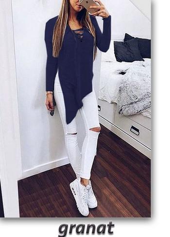 Ежедневна дамска блуза -асиметричен модел в няколко цвята