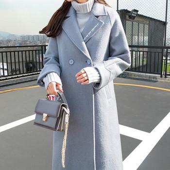 Μοντέρνο γυναικείο παλτό με μακρύ σχέδιο μοτίβο V σε γκρι χρώμα ... b392ae5e199