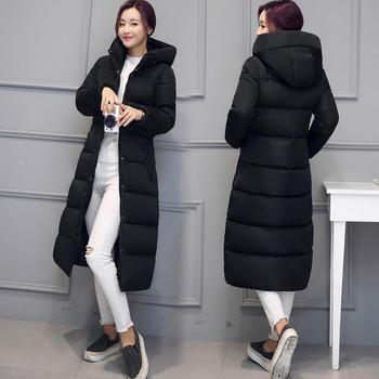 Μακρύ χειμωνιάτικο  μπουφάν με κουκούλα κατάλληλο για τη καθημερινή ζωή