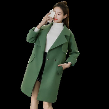 Μοντέρνο γυναικείο παλτό με κολάρο σε σχήμα V σε πράσινο χρώμα ... f9c2fac857a