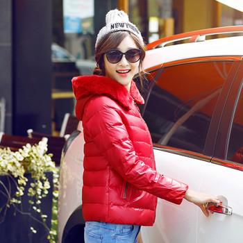 Дамско яке с цип в червен цвят