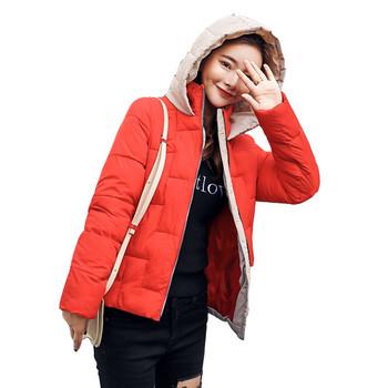 Дамско стилно яке със сваляща се качулка