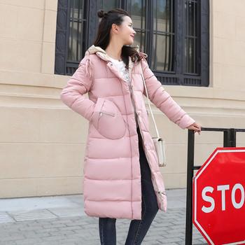 Дълго стилно дамско яке с качулка