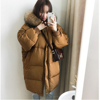 Χειμερινό γυναικείο μπουφάν  σε μαύρο και καφέ χρώμα