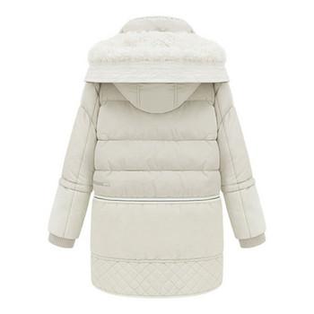 Γυναικείο ζεστό χειμωνιάτικο μπουφάν σε λευκό και μαύρο χρώμα