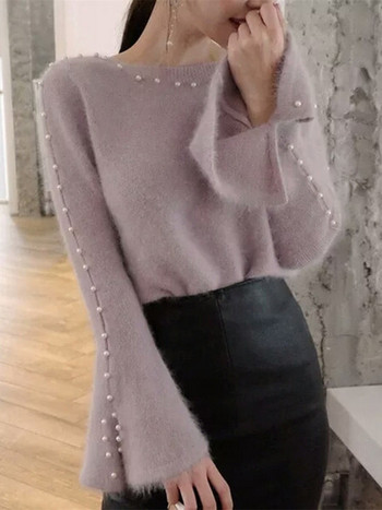 86c468cd5e9b Κομψό μαλακό γυναικείο πουλόβερ με διακοσμητικά μαργαριτάρια σε διάφορα  χρώματα
