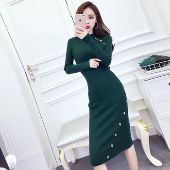 Елегантна дълга дамска рокля в два цвята