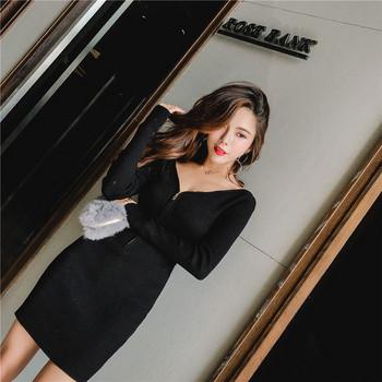 Стилна дамска рокля с цип в черен цвят