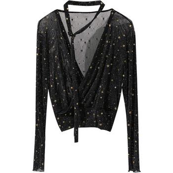 Лъскава дамска блуза с V-образно деколте в два цвята