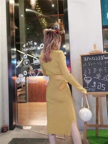 Дълга дамска рокля в жълт и черен цвят