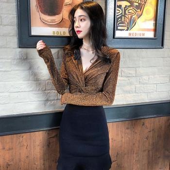 Модерна дамска блуза с V-образно деколте в златист и сребрист цвят