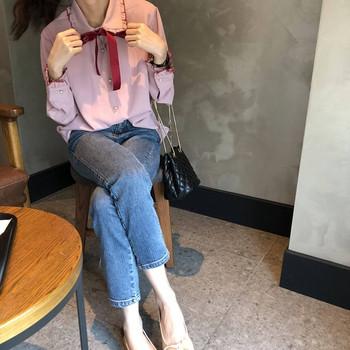 Стилна дамска риза с панделка