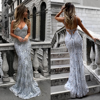 Стилна дамска дълга рокля с пайети в няколко цвята