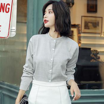 Есенна дамска риза с О-образна яка