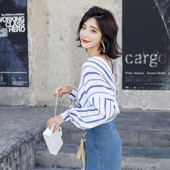 Елегантна раирана дамска риза бял-син цвят