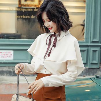 Стилна дамска есенно-зимна риза с панделка