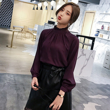 Модерна дамска риза с О-образно деколте