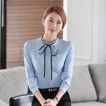 Стилна дамска риза с панделка в три цвята