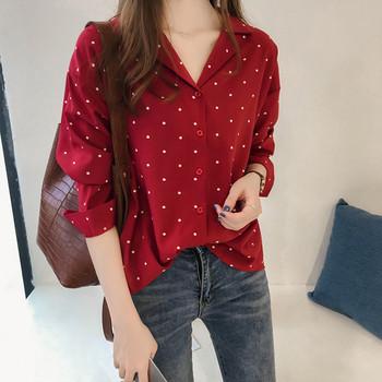 Модерна дамска риза на точки в черен и червен цвят