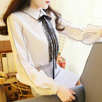 Елегантна дамска риза с панделка в три цвята