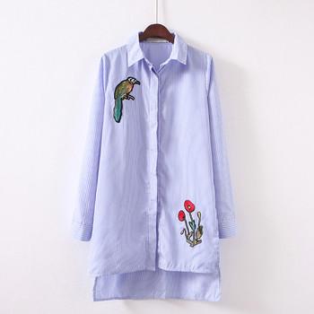 Модерна дамска раирана  риза асиметричен модел с цветна бродерия