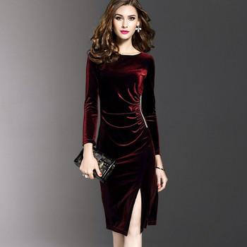 Кадифена елегантна дамска рокля в няколко цвята