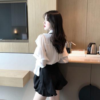 Стилна дамска риза с волани и панделка в бял цвят