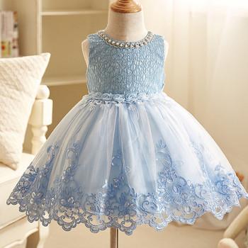 Κομψό παιδικό φόρεμα με δαντέλα και πούλιες σε τρία χρώματα - Badu ... 8d6c2b23ad0