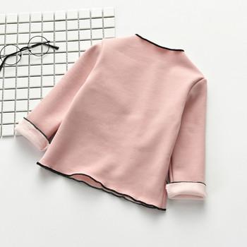 aaa6ac83725a Παιδική μπλούζα από βαμβάκι για κορίτσια με διακόσμηση τριών χρωμάτων