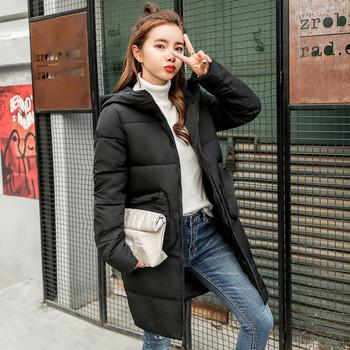 Μακρύ γυναικείο μπουφάν με τσέπες σε πέντε χρώματα
