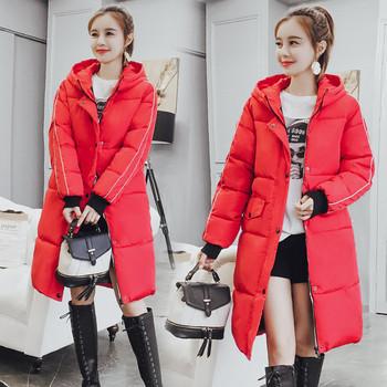 Дълго дамско яке в черен и червен цвят