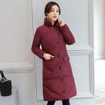 Μακρύ γυναικείο μπουφάν με μεταλλικά κουμπιά και κουκούλα σε έξι χρώματα
