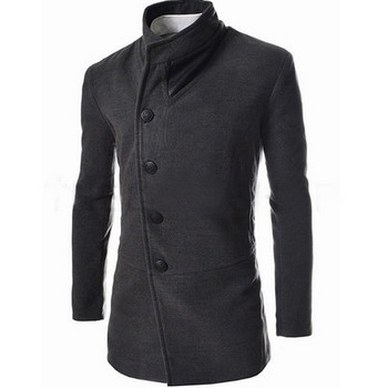 Стилно мъжко палто в черен и сив цвят с кожени елементи