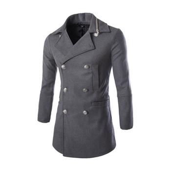 Модерно мъжко палто с копчета в сив и черен цвят