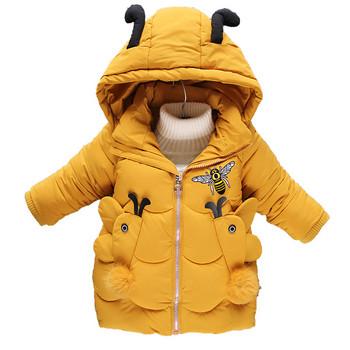 Χειμερινό παιδικό μπουφάν για κορίτσια με τρισδιάστατα στοιχεία σε διάφορα  χρώματα 4dcbd02d68b